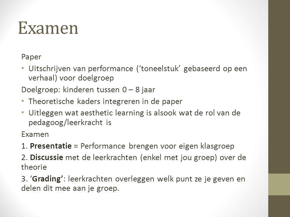 Examen Paper Uitschrijven van performance ('toneelstuk' gebaseerd op een verhaal) voor doelgroep Doelgroep: kinderen tussen 0 – 8 jaar Theoretische ka