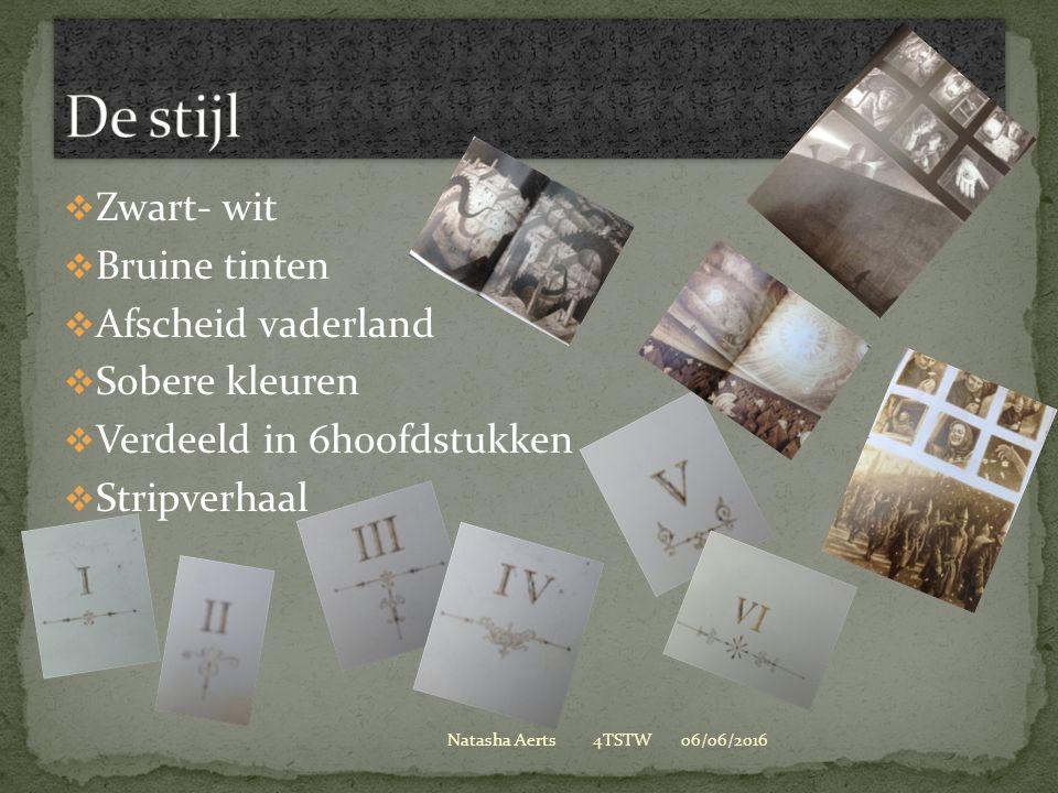  Zwart- wit  Bruine tinten  Afscheid vaderland  Sobere kleuren  Verdeeld in 6hoofdstukken  Stripverhaal 06/06/2016Natasha Aerts 4TSTW