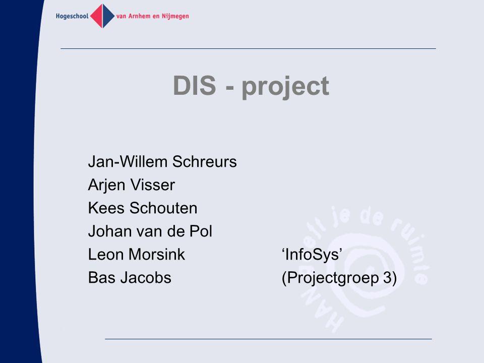 DIS - project Jan-Willem Schreurs Arjen Visser Kees Schouten Johan van de Pol Leon Morsink'InfoSys' Bas Jacobs(Projectgroep 3)