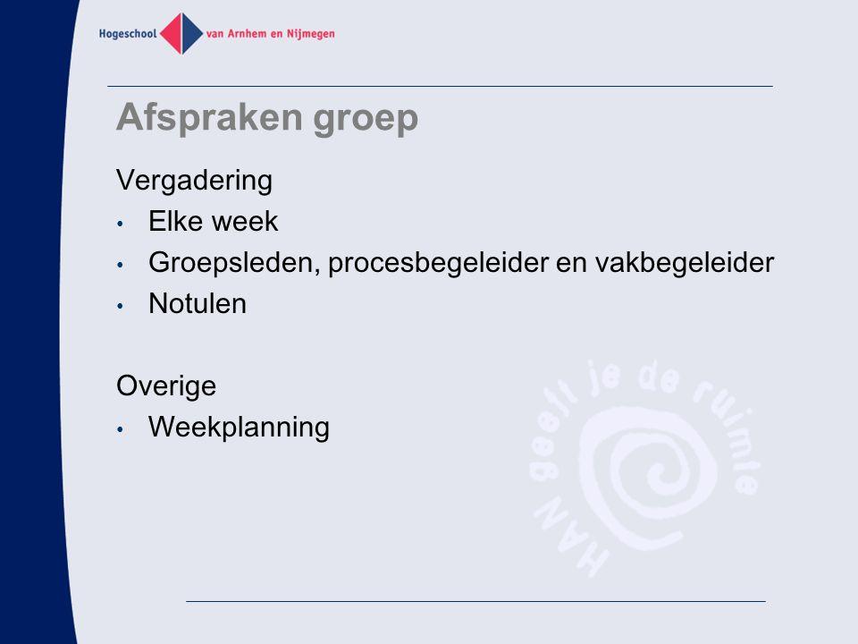 Afspraken groep Vergadering Elke week Groepsleden, procesbegeleider en vakbegeleider Notulen Overige Weekplanning
