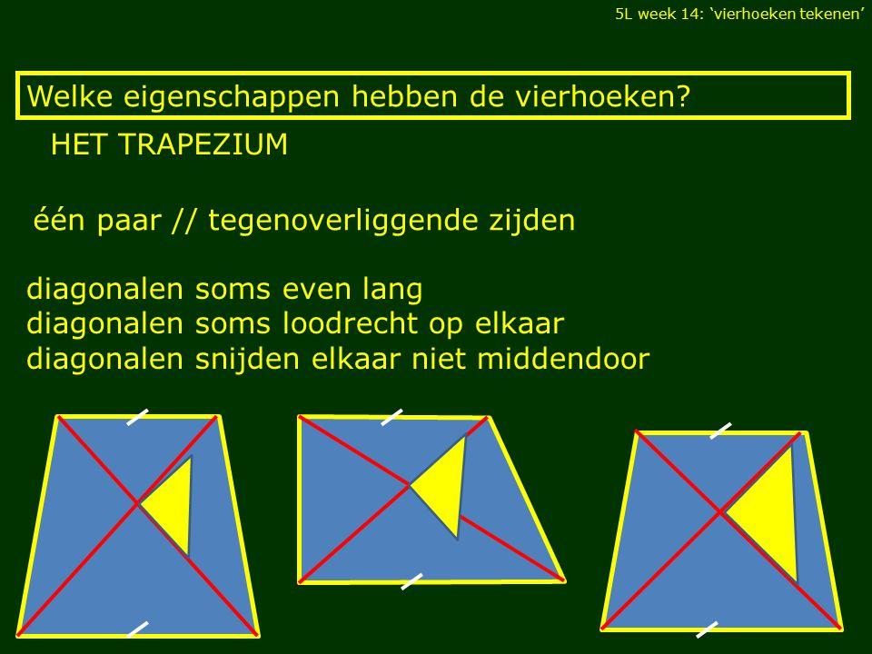 Welke eigenschappen hebben de vierhoeken? 5L week 14: 'vierhoeken tekenen' HET TRAPEZIUM diagonalen soms even lang diagonalen soms loodrecht op elkaar