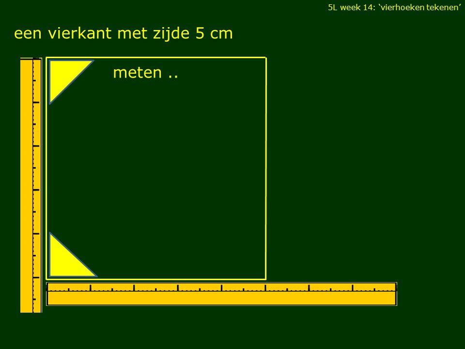 5L week 14: 'vierhoeken tekenen' parallellogram met basis 5 cm en hoogte 3,5 cm en een scherpe hoek van 70° meten..