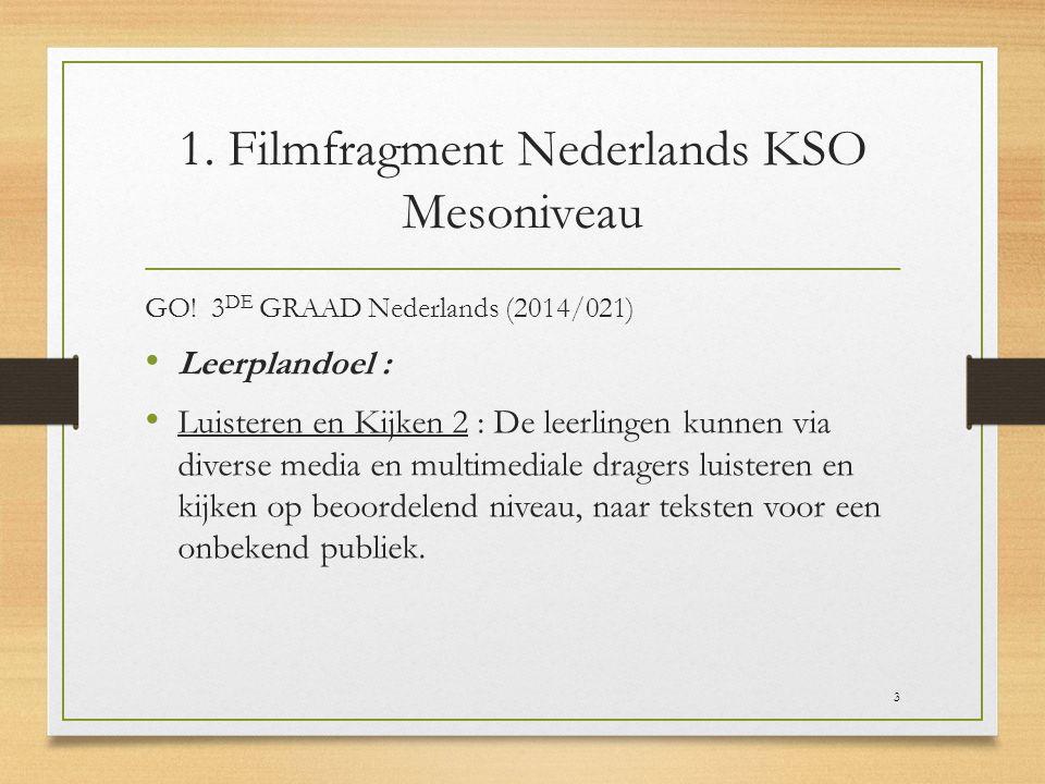 1. Filmfragment Nederlands KSO Mesoniveau GO! 3 DE GRAAD Nederlands (2014/021) Leerplandoel : Luisteren en Kijken 2 : De leerlingen kunnen via diverse