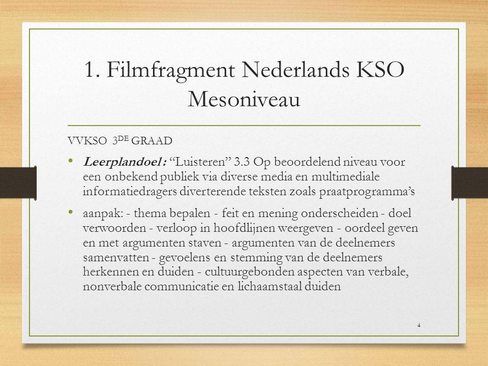 """1. Filmfragment Nederlands KSO Mesoniveau VVKSO 3 DE GRAAD Leerplandoel : """"Luisteren"""" 3.3 Op beoordelend niveau voor een onbekend publiek via diverse"""