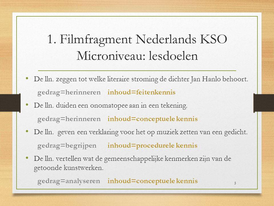 1. Filmfragment Nederlands KSO Microniveau: lesdoelen De lln. zeggen tot welke literaire stroming de dichter Jan Hanlo behoort. gedrag=herinneren inho