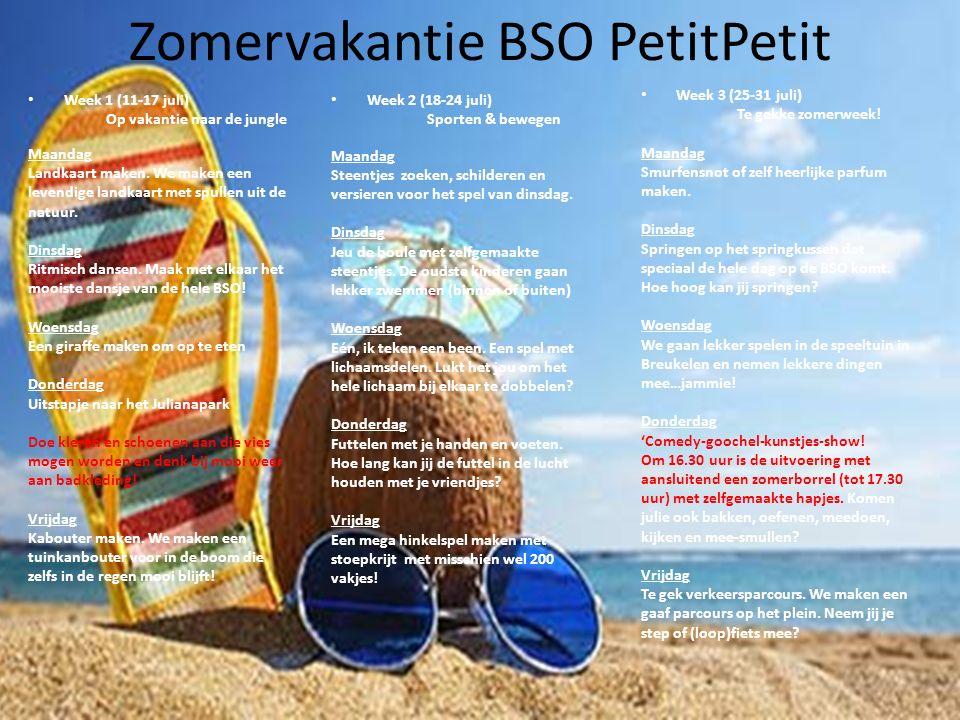Zomervakantie BSO PetitPetit Week 1 (11-17 juli) Op vakantie naar de jungle Maandag Landkaart maken. We maken een levendige landkaart met spullen uit