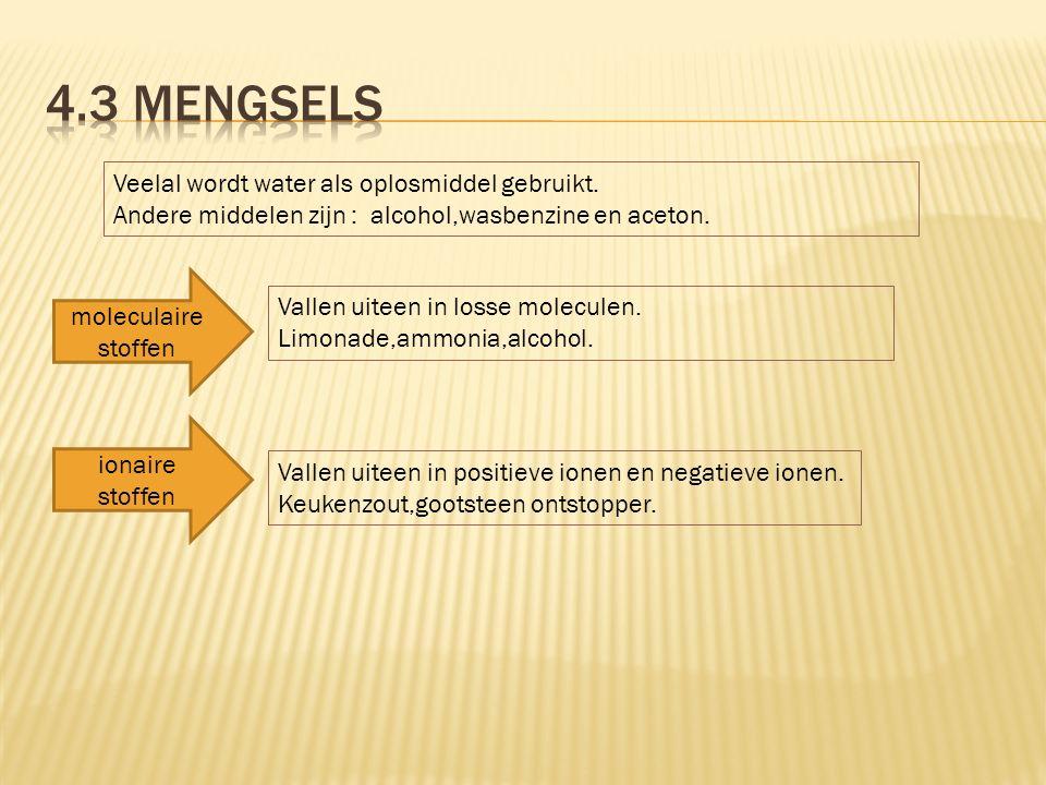 Veelal wordt water als oplosmiddel gebruikt. Andere middelen zijn : alcohol,wasbenzine en aceton. moleculaire stoffen Vallen uiteen in losse moleculen