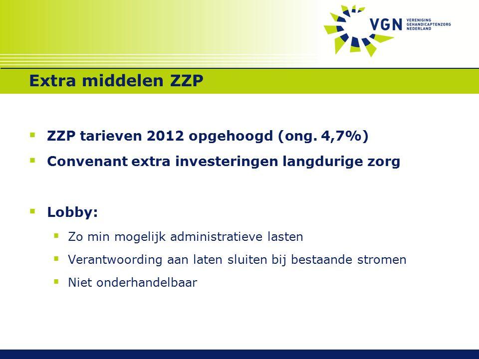 Extra middelen ZZP  ZZP tarieven 2012 opgehoogd (ong.
