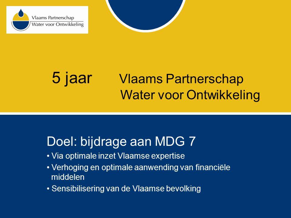 5 jaar Vlaams Partnerschap Water voor Ontwikkeling Studie van buitenlandse initiatieven van samenwerking tussen wateractoren voor ontwikkeling VPWvO-project = project dat in de geest van de VPWvO- intentieverklaring tot stand is gekomen door samenwerking tussen minstens 2 Vlaamse partners Kanttekeningen