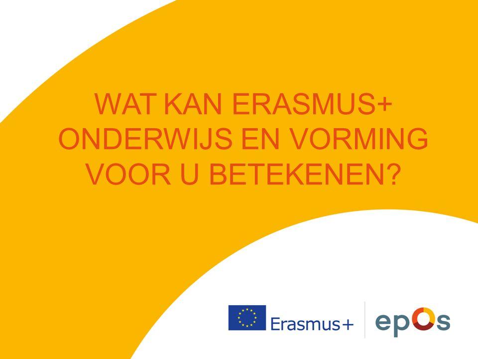 ERASMUS+OV 4 DOMEINEN schoolonderwijs / hoger onderwijs / volwasseneneducatie / beroepsopleiding 3 KERNACTIES individuele leermobiliteit strategische samenwerking beleidshervorming FORMEEL / NON-FORMEEL / INFORMEEL LEREN EUROPESE SAMENWERKING TUSSEN ORGANISATIES