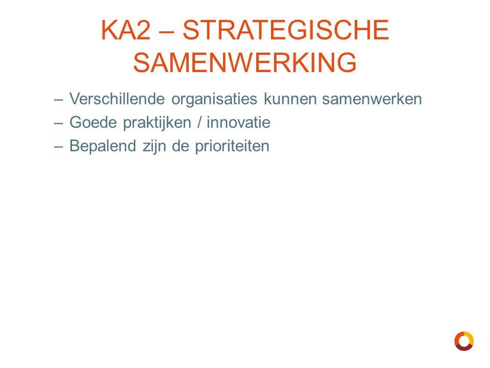 KA2 – STRATEGISCHE SAMENWERKING –Verschillende organisaties kunnen samenwerken –Goede praktijken / innovatie –Bepalend zijn de prioriteiten