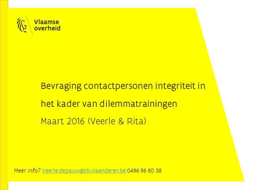 Bevraging contactpersonen integriteit in het kader van dilemmatrainingen Maart 2016 (Veerle & Rita) Meer info? Veerle.depauw@kb.vlaanderen.be 0496 96