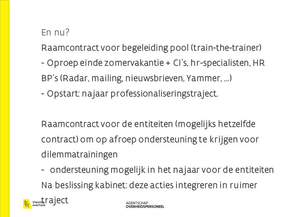En nu? Raamcontract voor begeleiding pool (train-the-trainer) - Oproep einde zomervakantie + CI's, hr-specialisten, HR BP's (Radar, mailing, nieuwsbri