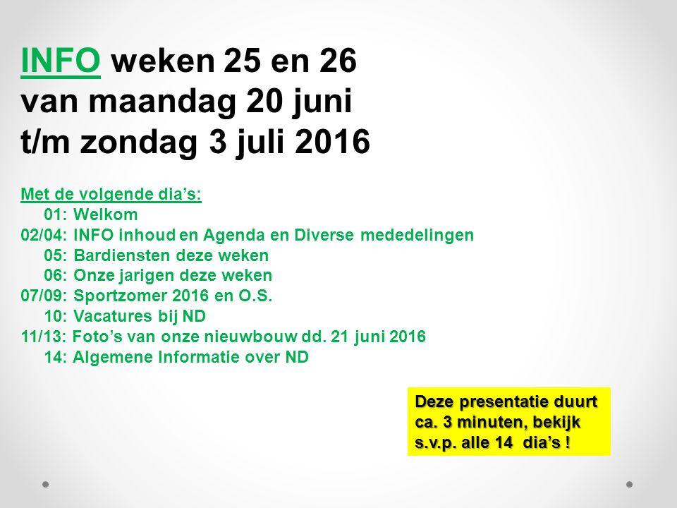 INFO weken 25 en 26 van maandag 20 juni t/m zondag 3 juli 2016 Met de volgende dia's: 01: Welkom 02/04: INFO inhoud en Agenda en Diverse mededelingen