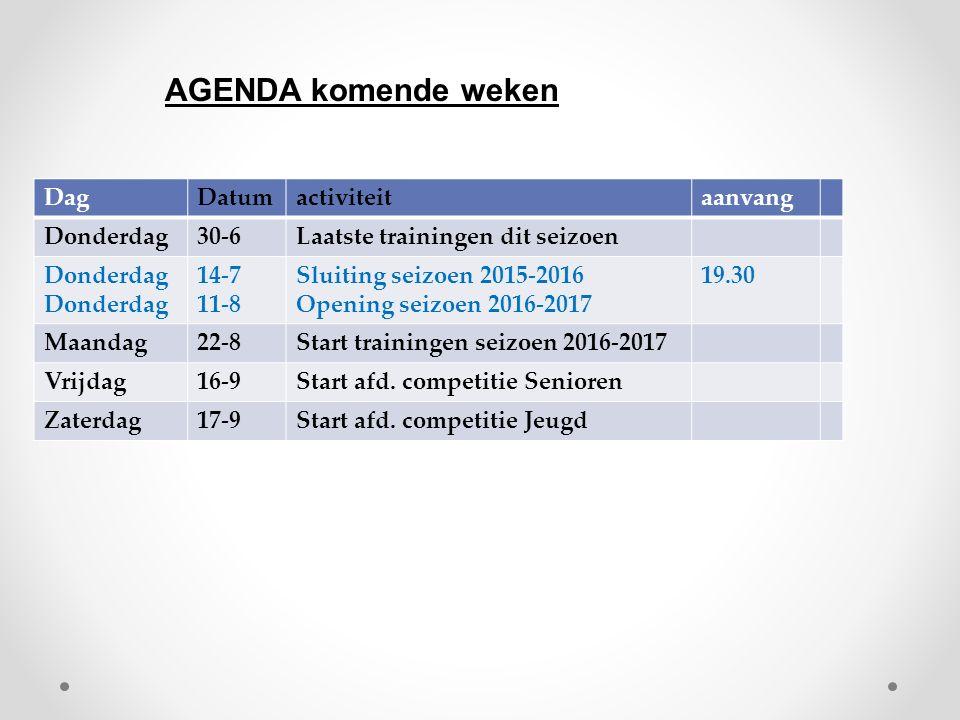 DagDatumactiviteitaanvang Donderdag30-6Laatste trainingen dit seizoen Donderdag 14-7 11-8 Sluiting seizoen 2015-2016 Opening seizoen 2016-2017 19.30 M