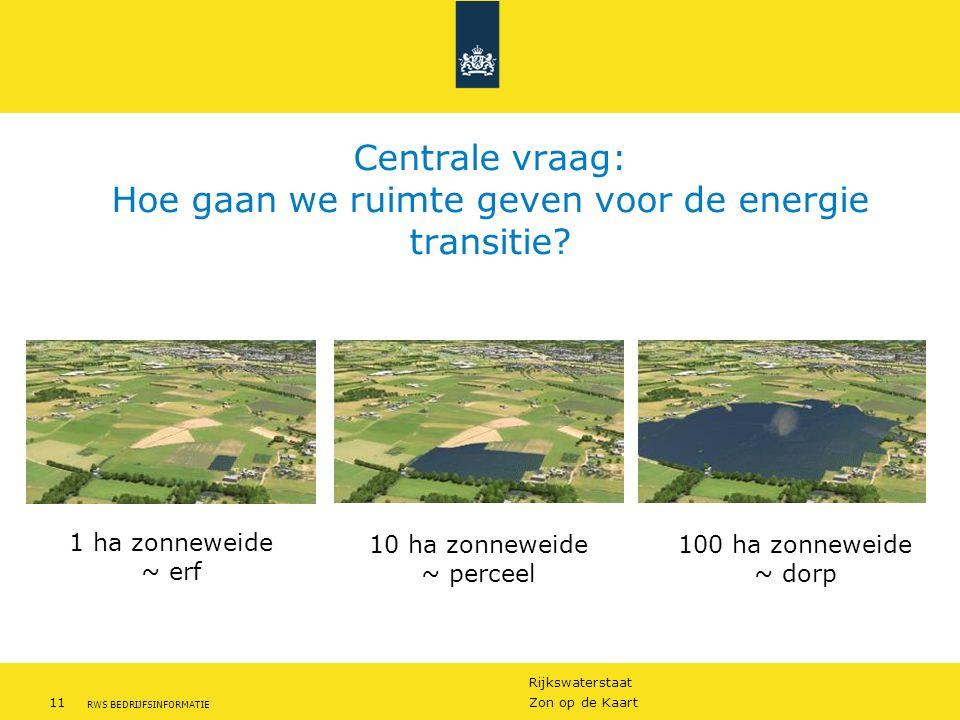 Rijkswaterstaat 11Zon op de Kaart RWS BEDRIJFSINFORMATIE Centrale vraag: Hoe gaan we ruimte geven voor de energie transitie? 1 ha zonneweide ~ erf 10
