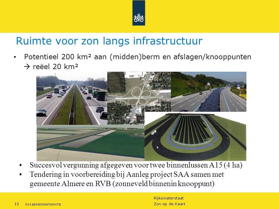 Rijkswaterstaat 13Zon op de Kaart RWS BEDRIJFSINFORMATIE Ruimte voor zon langs infrastructuur Potentieel 200 km² aan (midden)berm en afslagen/knooppun