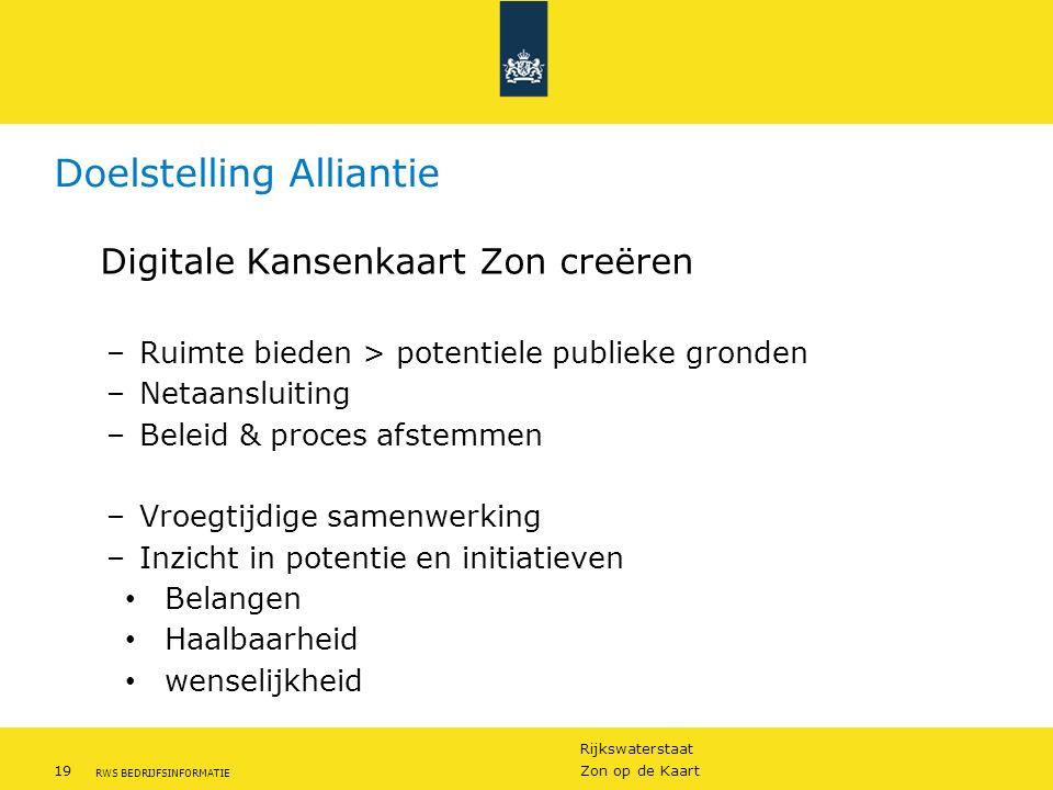 Rijkswaterstaat 19Zon op de Kaart RWS BEDRIJFSINFORMATIE Doelstelling Alliantie Digitale Kansenkaart Zon creëren –Ruimte bieden > potentiele publieke