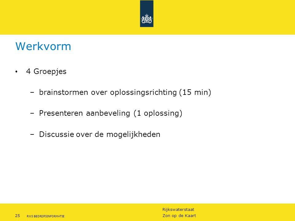 Rijkswaterstaat 25Zon op de Kaart RWS BEDRIJFSINFORMATIE Werkvorm 4 Groepjes –brainstormen over oplossingsrichting (15 min) –Presenteren aanbeveling (