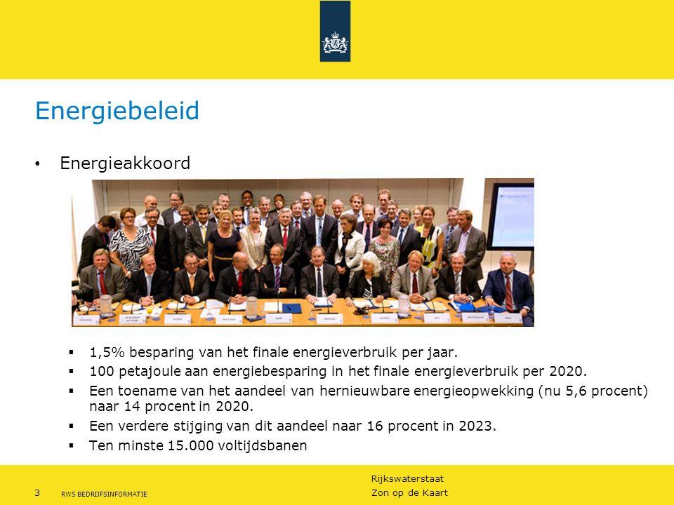 Rijkswaterstaat 3Zon op de Kaart RWS BEDRIJFSINFORMATIE Energiebeleid Energieakkoord  1,5% besparing van het finale energieverbruik per jaar.  100 p