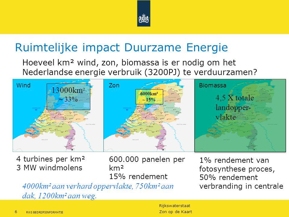 Rijkswaterstaat 6Zon op de Kaart RWS BEDRIJFSINFORMATIE Ruimtelijke impact Duurzame Energie 13000km ² ~ 33% 6000km² ~ 15% 4,5 X totale landopper- vlak