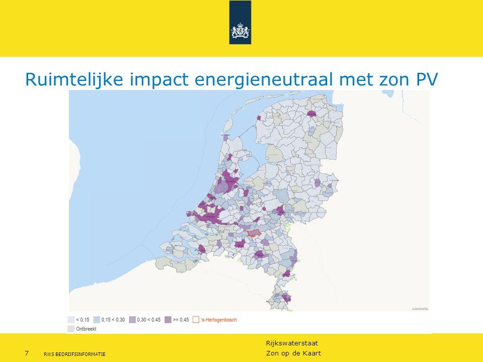 Rijkswaterstaat 8Zon op de Kaart RWS BEDRIJFSINFORMATIE Ontwikkeling Zonne energie Zon PV nu nog bescheiden: <1% Ontwikkeling gaat snel Projecten worden steeds groter!