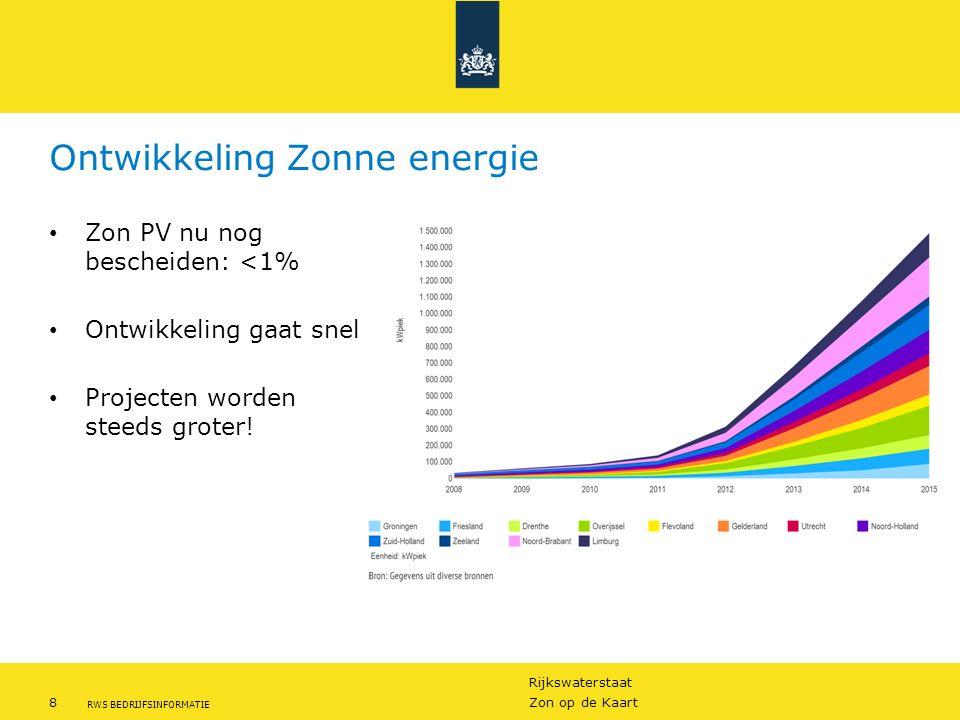 Rijkswaterstaat 8Zon op de Kaart RWS BEDRIJFSINFORMATIE Ontwikkeling Zonne energie Zon PV nu nog bescheiden: <1% Ontwikkeling gaat snel Projecten word
