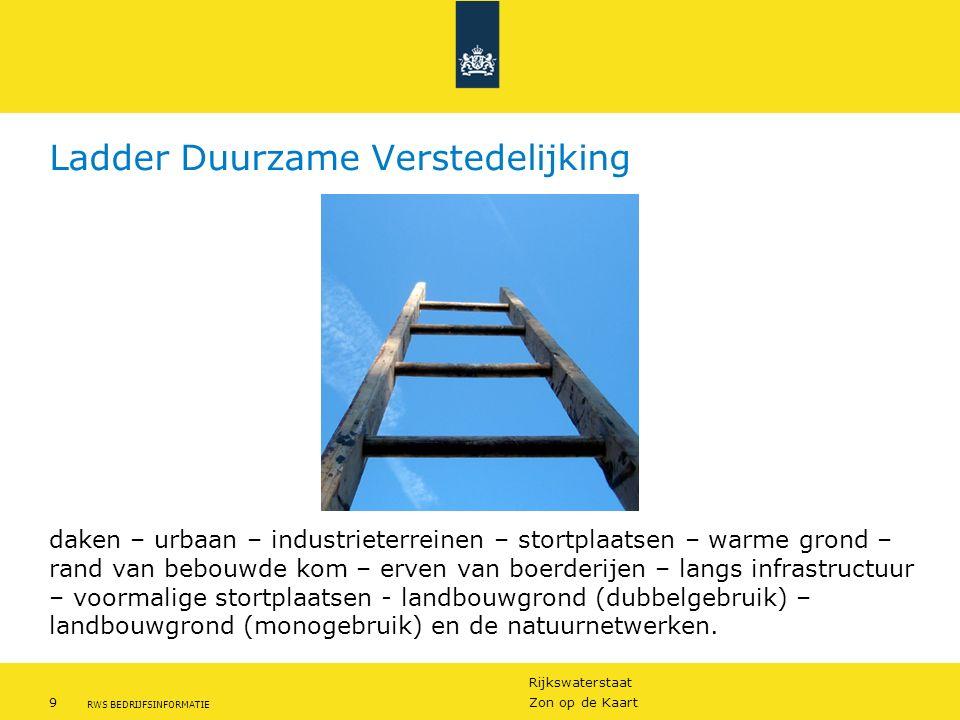 Rijkswaterstaat 9Zon op de Kaart RWS BEDRIJFSINFORMATIE Ladder Duurzame Verstedelijking daken – urbaan – industrieterreinen – stortplaatsen – warme gr