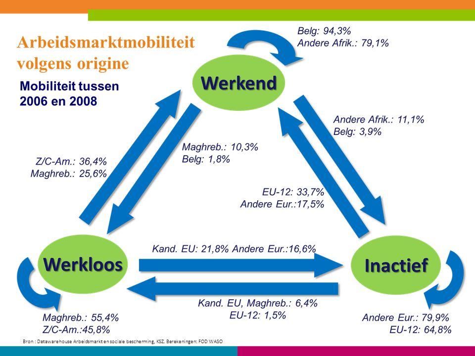 Bron : Datawarehouse Arbeidsmarkt en sociale bescherming, KSZ. Berekeningen: FOD WASO