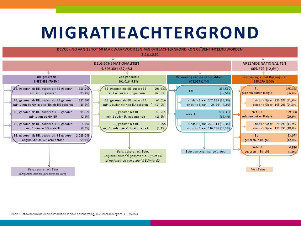 MIGRATIEACHTERGROND Bron : Datawarehouse Arbeidsmarkt en sociale bescherming, KSZ.