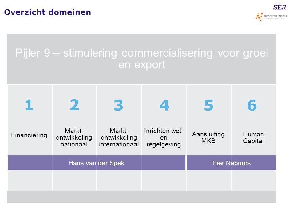 Overzicht domeinen Pijler 9 – stimulering commercialisering voor groei en export Financiering Markt- ontwikkeling nationaal Markt- ontwikkeling intern