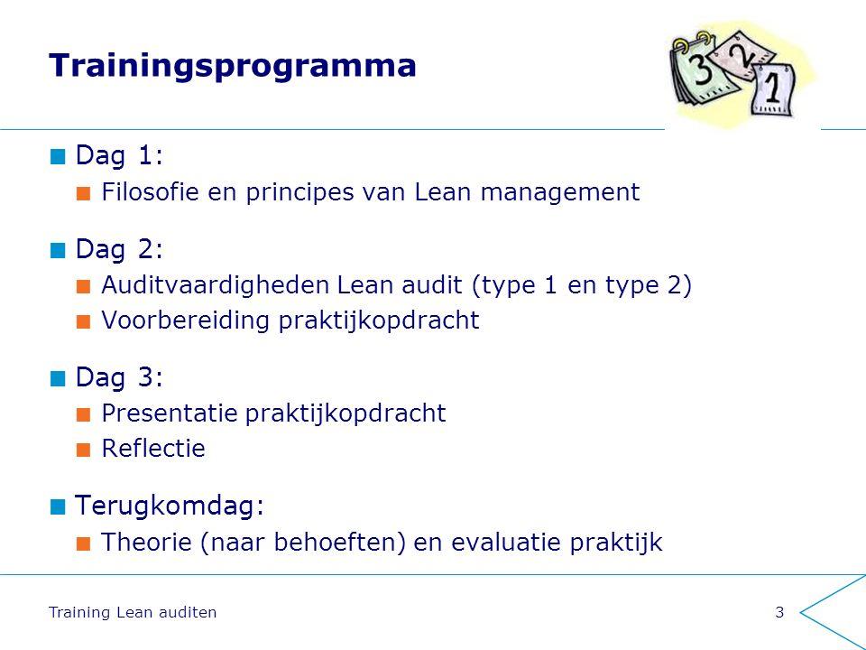 Trainingsprogramma Dag 1: Filosofie en principes van Lean management Dag 2: Auditvaardigheden Lean audit (type 1 en type 2) Voorbereiding praktijkopdracht Dag 3: Presentatie praktijkopdracht Reflectie Terugkomdag: Theorie (naar behoeften) en evaluatie praktijk Training Lean auditen3