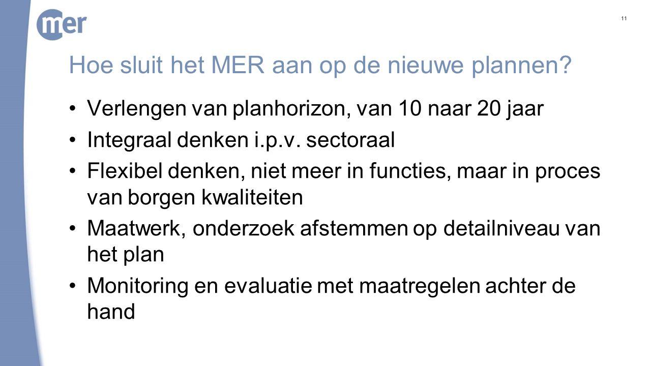 Hoe sluit het MER aan op de nieuwe plannen? Verlengen van planhorizon, van 10 naar 20 jaar Integraal denken i.p.v. sectoraal Flexibel denken, niet mee