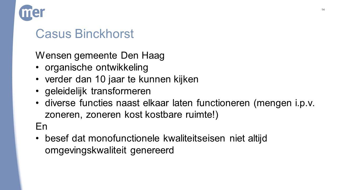 Casus Binckhorst Wensen gemeente Den Haag organische ontwikkeling verder dan 10 jaar te kunnen kijken geleidelijk transformeren diverse functies naast elkaar laten functioneren (mengen i.p.v.