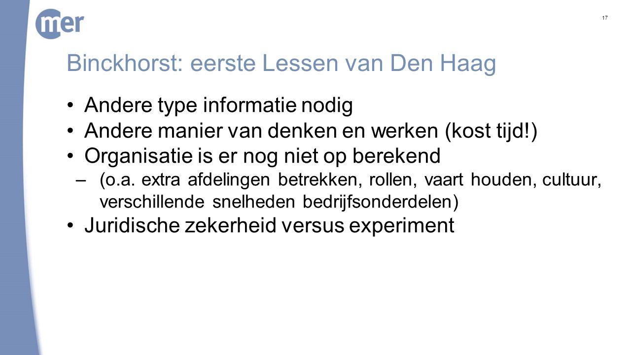 Binckhorst: eerste Lessen van Den Haag Andere type informatie nodig Andere manier van denken en werken (kost tijd!) Organisatie is er nog niet op berekend –(o.a.