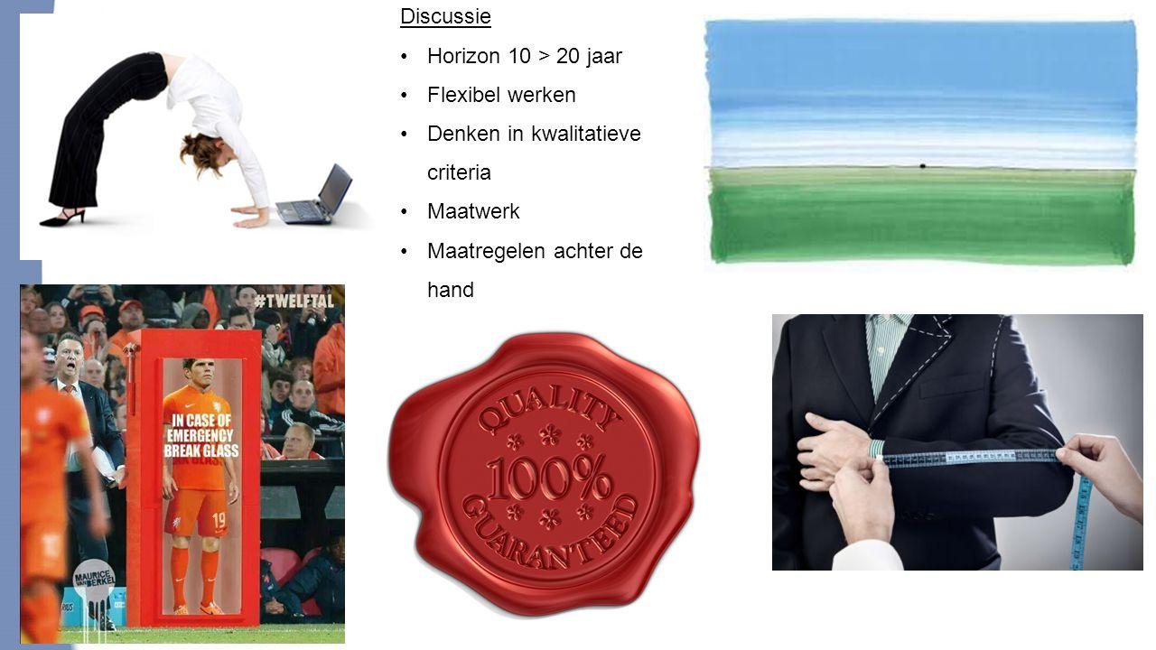 20 Discussie Horizon 10 > 20 jaar Flexibel werken Denken in kwalitatieve criteria Maatwerk Maatregelen achter de hand