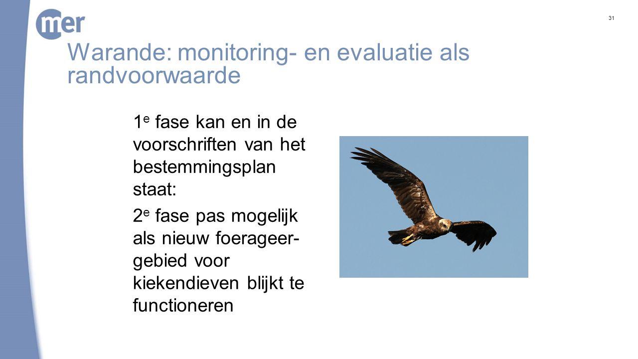 Warande: monitoring- en evaluatie als randvoorwaarde 1 e fase kan en in de voorschriften van het bestemmingsplan staat: 2 e fase pas mogelijk als nieuw foerageer- gebied voor kiekendieven blijkt te functioneren 31