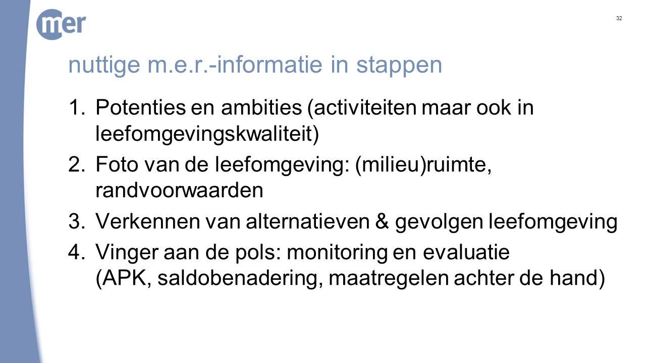 nuttige m.e.r.-informatie in stappen 1.Potenties en ambities (activiteiten maar ook in leefomgevingskwaliteit) 2.Foto van de leefomgeving: (milieu)rui
