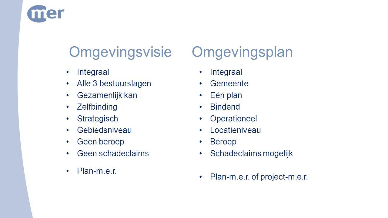 Omgevingsvisie Omgevingsplan Integraal Alle 3 bestuurslagen Gezamenlijk kan Zelfbinding Strategisch Gebiedsniveau Geen beroep Geen schadeclaims Plan-m.e.r.