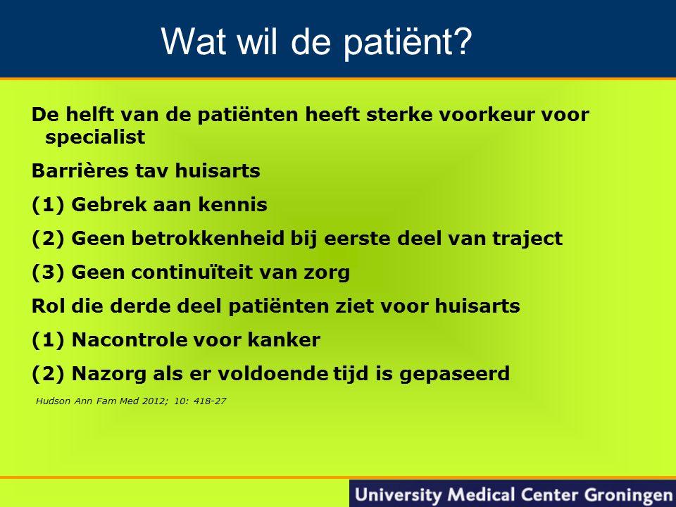 18 Groningen Nacontrole in de oncologie De helft van de patiënten heeft sterke voorkeur voor specialist Barrières tav huisarts (1) Gebrek aan kennis (