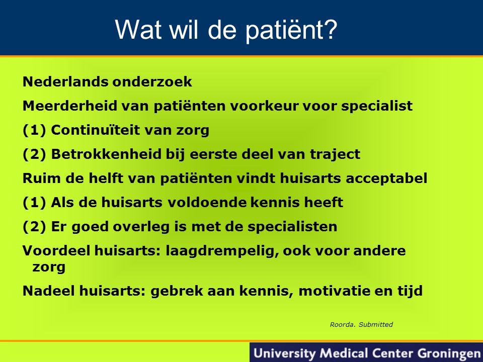 19 Groningen Nacontrole in de oncologie Nederlands onderzoek Meerderheid van patiënten voorkeur voor specialist (1) Continuïteit van zorg (2) Betrokke