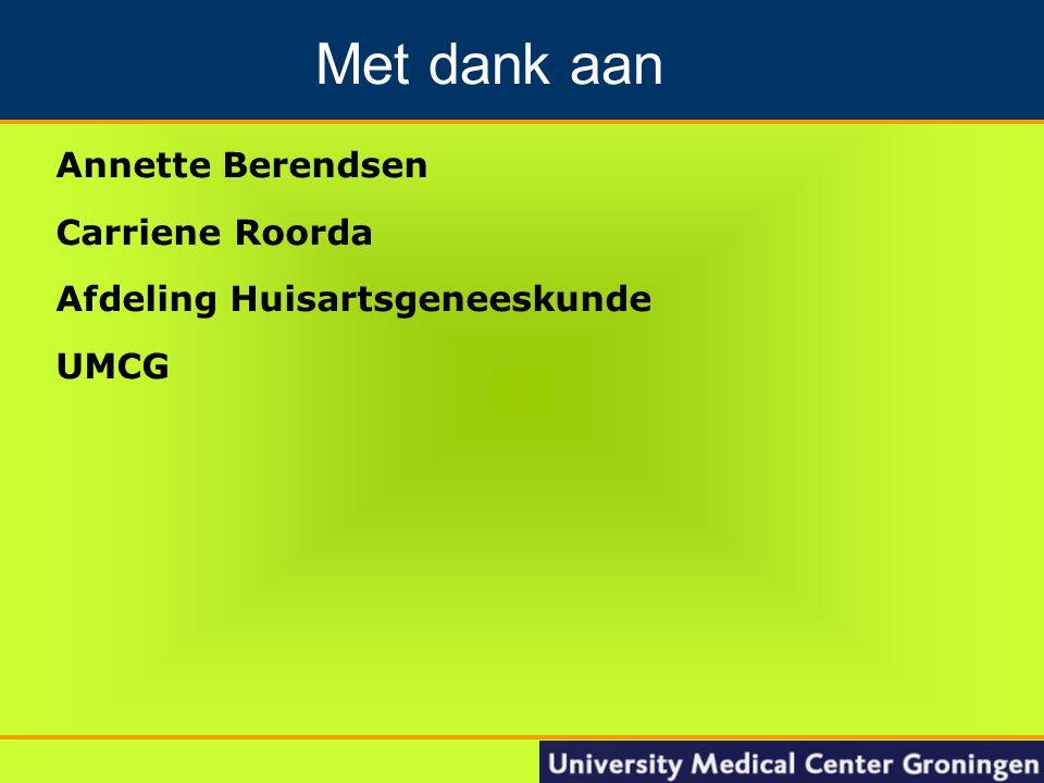 21 Annette Berendsen Carriene Roorda Afdeling Huisartsgeneeskunde UMCG Groningen Nacontrole in de oncologie Met dank aan