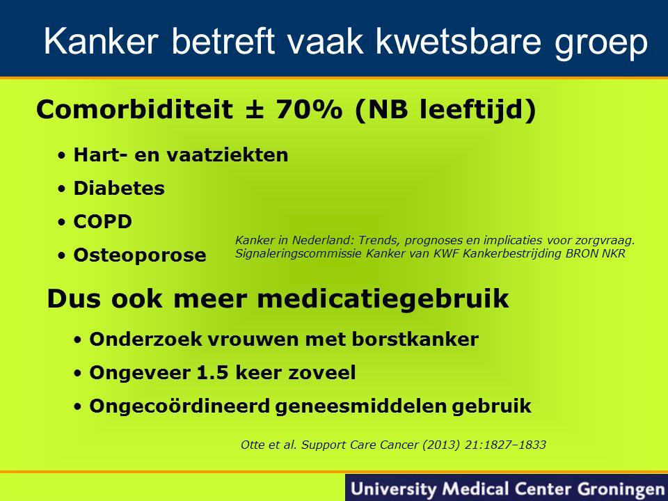 8 Comorbiditeit ± 70% (NB leeftijd) Groningen Nacontrole in de oncologie Hart- en vaatziekten Diabetes COPD Osteoporose Kanker betreft vaak kwetsbare