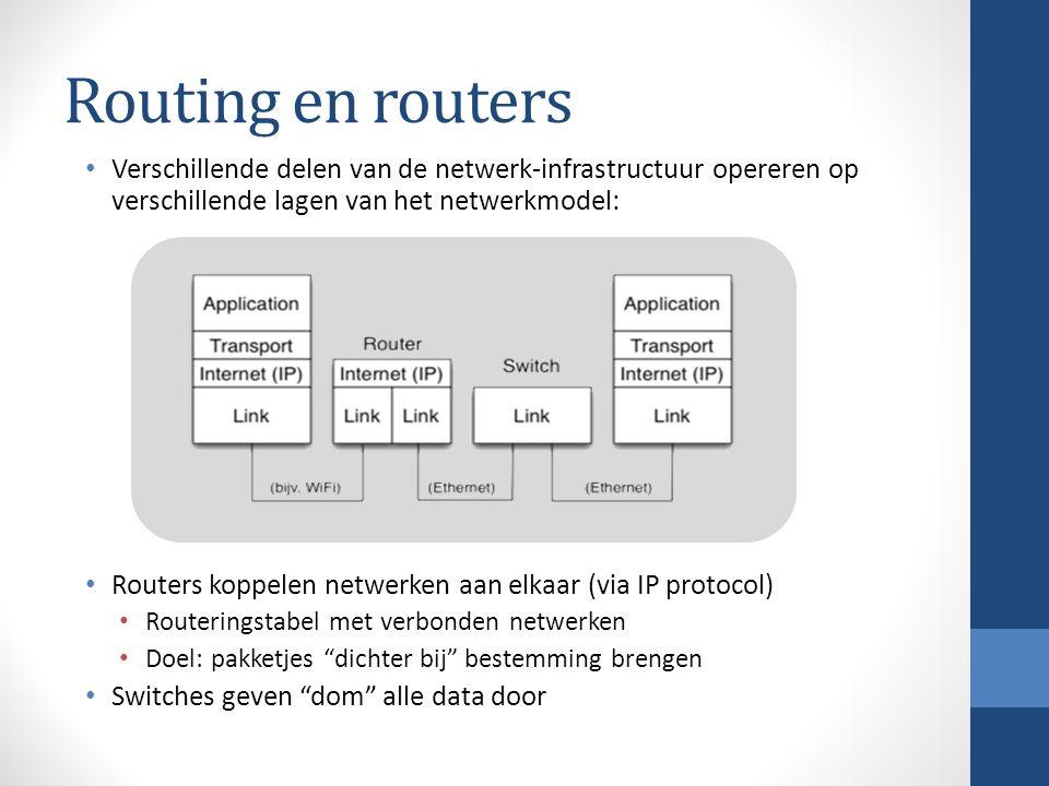 Routing en routers Verschillende delen van de netwerk-infrastructuur opereren op verschillende lagen van het netwerkmodel: Routers koppelen netwerken