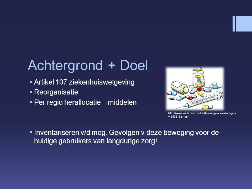 Achtergrond + Doel  Artikel 107 ziekenhuiswetgeving  Reorganisatie  Per regio herallocatie – middelen  Inventariseren v/d mog.