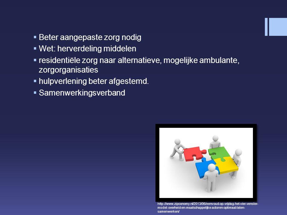  Beter aangepaste zorg nodig  Wet: herverdeling middelen  residentiële zorg naar alternatieve, mogelijke ambulante, zorgorganisaties  hulpverlening beter afgestemd.