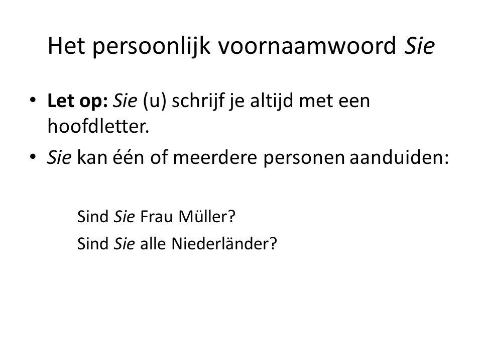 Het persoonlijk voornaamwoord Sie Let op: Sie (u) schrijf je altijd met een hoofdletter. Sie kan één of meerdere personen aanduiden: Sind Sie Frau Mül