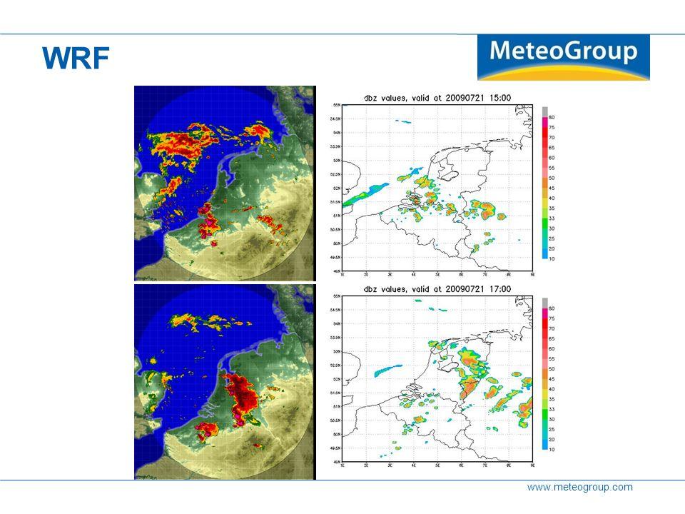 www.meteogroup.com WRF WRF – radar reflectivity comparison 15 UTC 17 UTC Radar 15:00 Radar 17:00 Model 15:00 Model 17:00