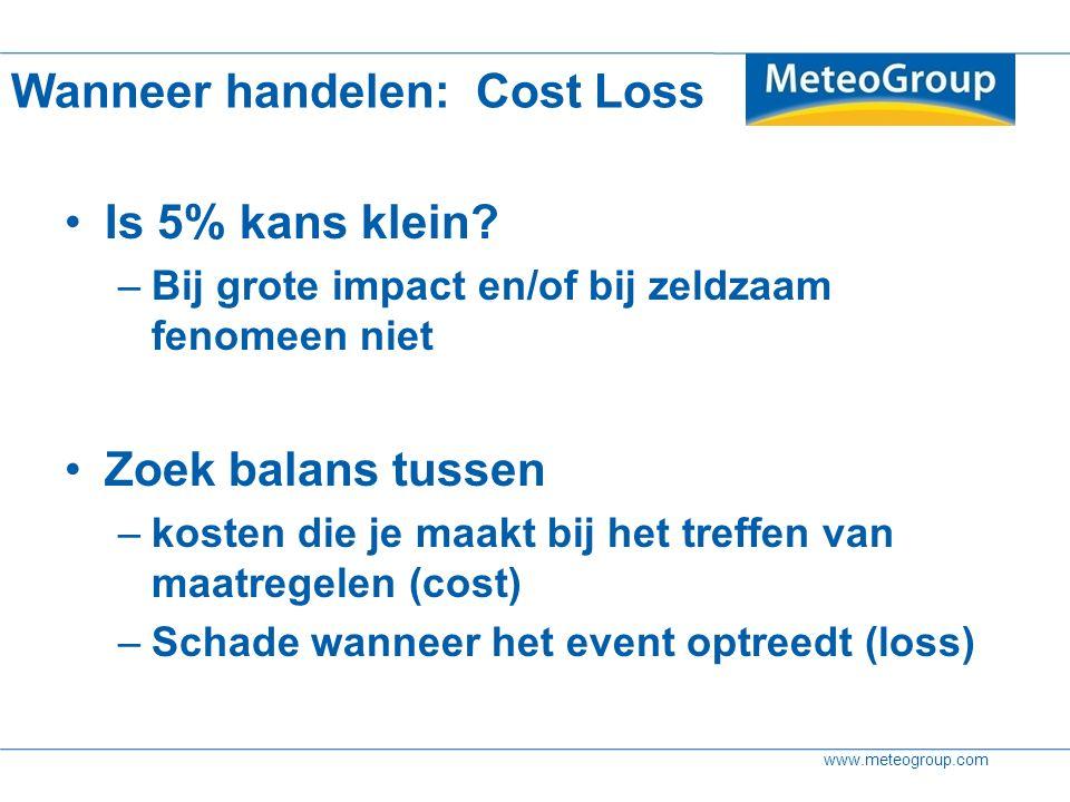 www.meteogroup.com Wanneer handelen: Cost Loss Is 5% kans klein? –Bij grote impact en/of bij zeldzaam fenomeen niet Zoek balans tussen –kosten die je