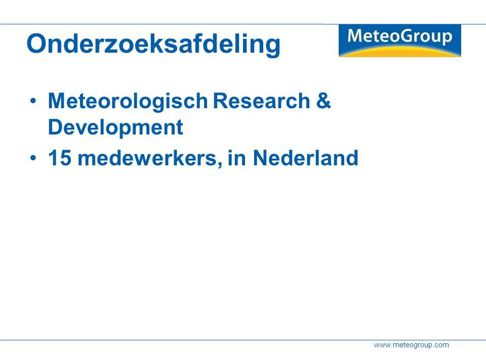 www.meteogroup.com Ensemble methode Herhaal zelfde modelverwachting 50 keer Verschillende uitgangstoestanden Dit geeft scenario's en marges